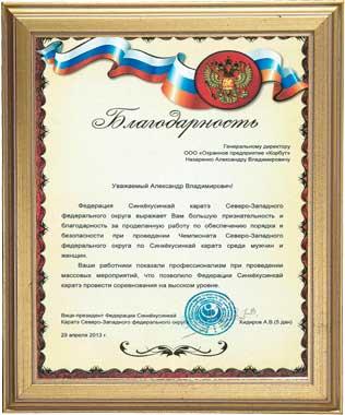 Благодарность от Федерации Синкёкусинкай Каратэ Северо-Западного федерального округа